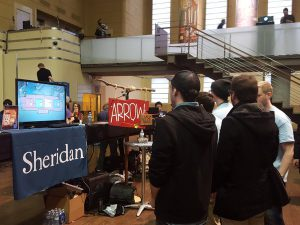 Oddbird team members promoting their online steam video game Arrow Heads